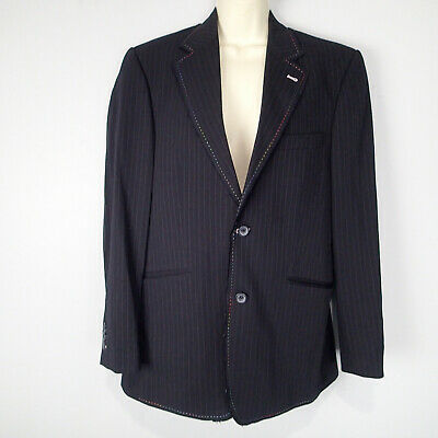 7 Diamonds Striped Blazer Sports Jacket sz s raw edges