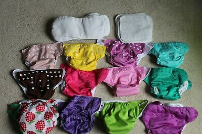 Bumgenius Cloth Diapers Lot of 12 button W/ HUGE Lot of INSERTS!