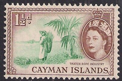 Cayman Islands 1953 - 62 QE2 1 1/2d Thatch Rope Industry MM SG 151 ( A775 )