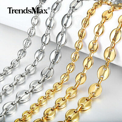 7/9/11mm Men Women Coffee Beans Marina Link Chain Necklace Stainless Steel