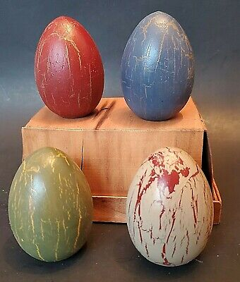 4 Wooden PAINTED Nesting Eggs VTG 1900's USED old COUNTRY KITCHEN store FARM