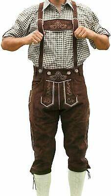 "LederHosen4U Men's Bavarian Costume, Brown, 34"" Waist/16"" Inseam"