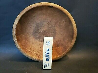 """Wooden Bowl old COUNTRY KITCHEN store FARM dry surface 11"""" x 10-1/4"""" ANTIQUE old"""