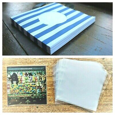 100 RECORD SLEEVES FOR 7″ VINYL - BLUE STRIPED 140 GSM & CLEAR SLEEVES 45RPM EPs