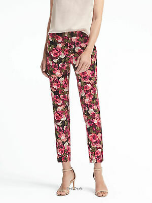Banana Republic Womens Avery Pink Floral Ankle Dress Pants 8 $98 New 874882