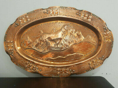 Stunning  Arts And Crafts Copper Platter  Tray   Scene  With Dogs