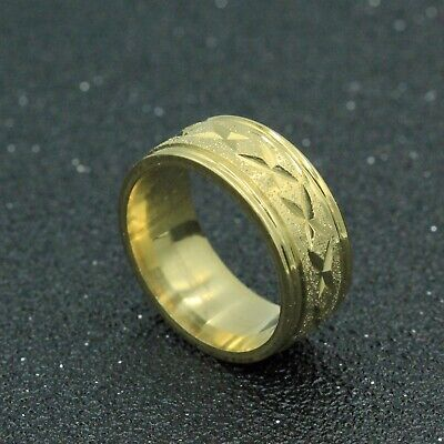 8mm 18K Gold Plated 316L Titanium Stainless Steel Men Women Band Ring Size 7