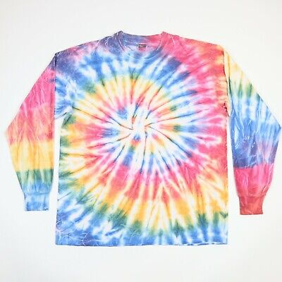 Vtg Tie Dye T-Shirt XL Fruit of the Loom Faded Soft Long Sleeve Hippie Grunge