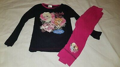 Gorgeous black pink frozen Elsa anna Top bottoms pyjama set Age 5 6 Years