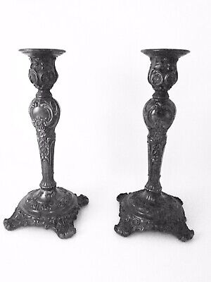"""Antique WM Rogers & Son 9"""" Ornate Silver Plated Candle Holders Victorian Rose"""