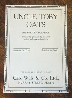 Western Australia 1916 Cereal Advertisement Uncle Toby Oats Murray Street Perth