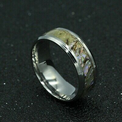8mm Silver 316L Titanium Stainless Steel Men Women Shell Band Ring Size 11