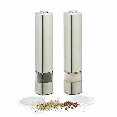 Pepper Mill Set Of 2 Electric Stainless Steel Grinder Salt Grinding Ceramic