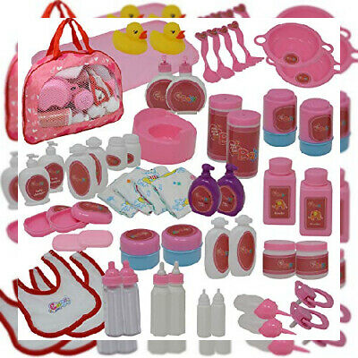 50Piece Baby Doll Feeding & Caring Accessory Set in Zippered Carrying Case -...