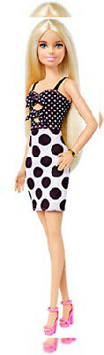 Barbie Fashionistas Doll with Long Blonde Hair Wearing Polka Dot Dress and...