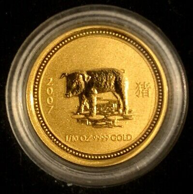 2007 Perth Mint 🇦🇺 Lunar Year of the Pig 🐷 1/10oz 9999 Pure Gold w/case