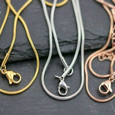 50cm Stainless Steel Snake Chain Silver,Gold & Pink Ø1 ,2mm Necklaces Blank DIY