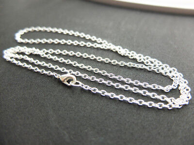 Silver Plated Link Chains Necklace Ø2x3mm 45-50-55-60-70-80 CM
