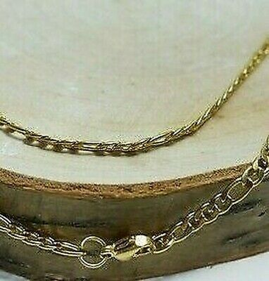 Stainless Steel Gold/Silver Figaro Curb 3mm Necklace 40-45-50-55-60-65-70-80cm