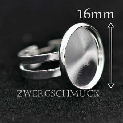 20tlg Ring Blanks Cabochon-Fassung 16mm Adjustable Silver Jewellery Making