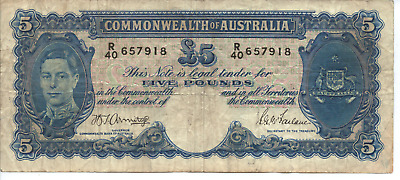 COMMONWEALTH of AUSTRALIA -  FIVE POUNDS Note - Signed by Armitage & McFarlane