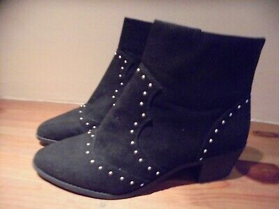 Size 7 Black Faux Suede Dorothy Perkins Studded Ankle Boots Worn Once