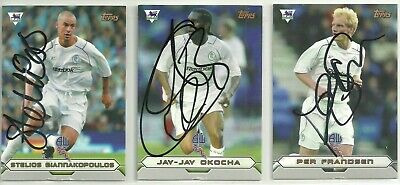 3 x Signed BOLTON WANDERERS Topps 2004 Cards