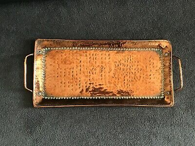 Vintage John Pearson Arts & Crafts Copper Hammered Tray + Handles Newlyn School