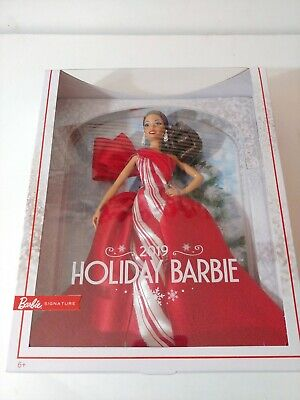 Mattel 2019 Holiday Barbie Signature Doll, Brunette Side  Ponytail (New in Box)