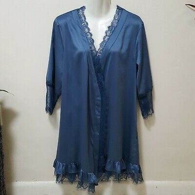 Anthropologie Eloise Nika Ruffled Lace Trim Boudoir Robe stormy blue XS/S Satin