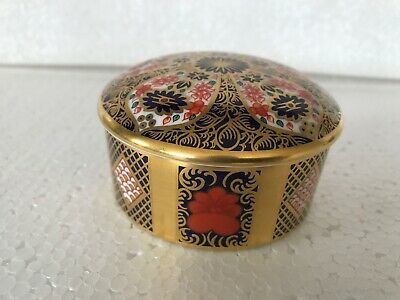 Royal Crown Derby 1St Old Imari Solid Gold Band Round Trinket Box Small Snip Af