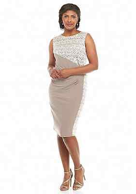 Nwt Rm Richards Taupe Ivory  Lace Sheath Dress Size 14 W Women $112