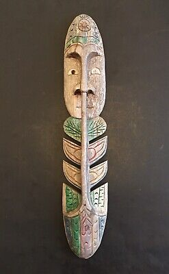 Antique Vintage Tribal Face Wooden Hand Carved Man Sculpture Wall Hanging RARE