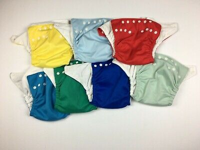 Fuzzi Bunz Pocket Cloth Diapers Size Medium Lot of 7 Old Style No Inserts