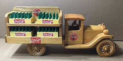 Coca-Cola Handcrafted Wood Replica Delivery Truck with 8 Cases & Bottles