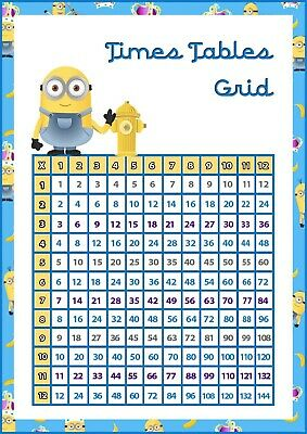 Times Table Chart Grid, Maths Home School, Laminated A4 Poster, Minions poster