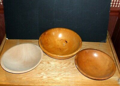 Vtg Wood Hand Turned Dough/Mixing Bowls      Lot Of  3