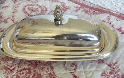 SILVERPLATE BUTTER DISH PLATE with LID & PINEAPPLE FINIAL ~ Marked Wm Rogers 987