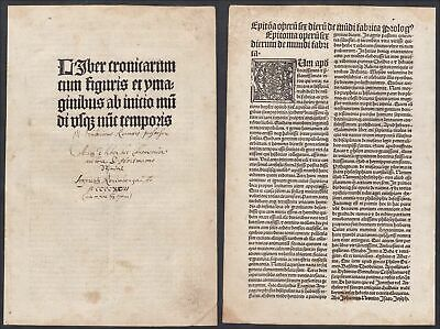 1497 Liber Cronicarum title Titel Schedel Incunable Inkunabel Holzschnitt