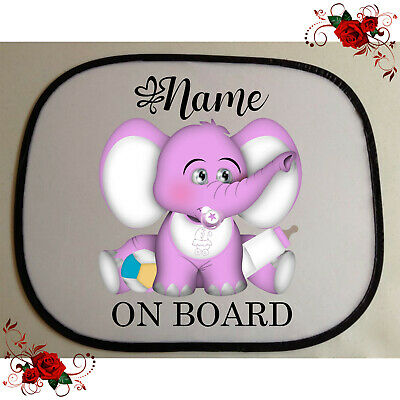 1 Personalised Car Sun Screen Shade - Baby Toddler - Elephant - Style 7