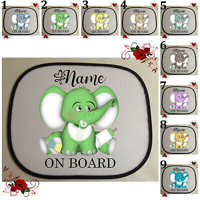 1 Personalised Car Sun Screen Shade - Baby Toddler - Elephant - Style 6