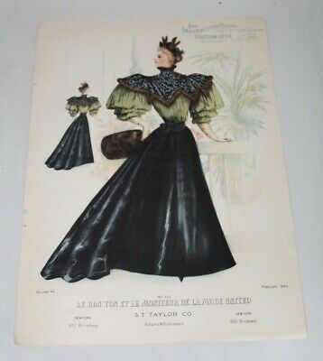 Antique VICTORIAN Fashion Print 1900 LE BON TON ET LE MONITEUR DE LA MODE UNITED