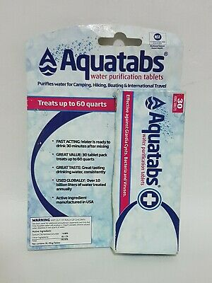 Water Purification Tablets 49mg by Aquatabs, 30 ct  Exp. 03/21