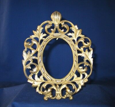 PICTURE/MIRROR FRAME ANTIQUE Gilt Cast Iron with nice stand VERY GOOD CONDITION