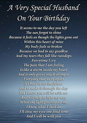 Husband On Your Birthday Memorial Graveside Poem Card & Ground Stake F402