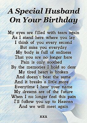 Husband On Your Birthday Memorial Graveside Poem Card With Ground Stake F187
