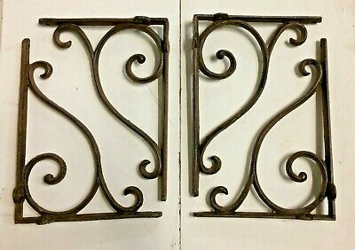 SET OF 4 LARGE RUSTIC  BROWN SCROLL BRACE/BRACKET vintage style patina finish 9""