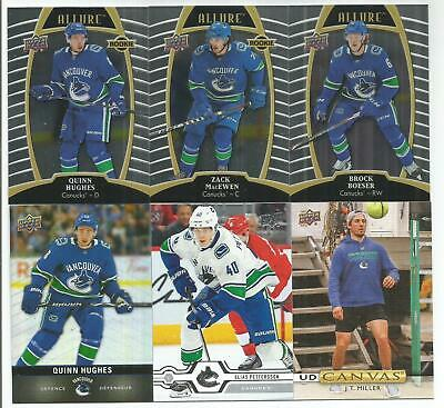 Vancouver Canucks 14 Hockey Card Lot Quinn Hughes Rookie Elias Pettersson +++