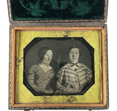 Cased EARLY Daguerreotype of Sisters in Embrace, Neatly Patterned Dresses 1840s