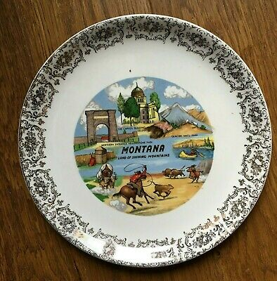 Montana State Collector Souvenir Travel Plate Yellowstone Glacier National Park